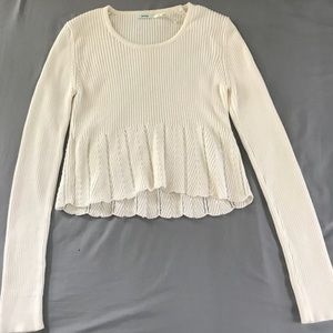 Cream Knit Long Sleeve Top Kimchi Blue